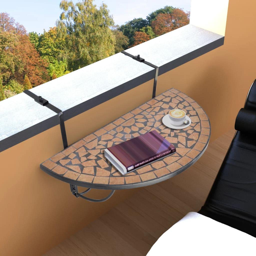 vidaXL Függő Mozaik Erkélyi Asztal Félköríves Terrakotta