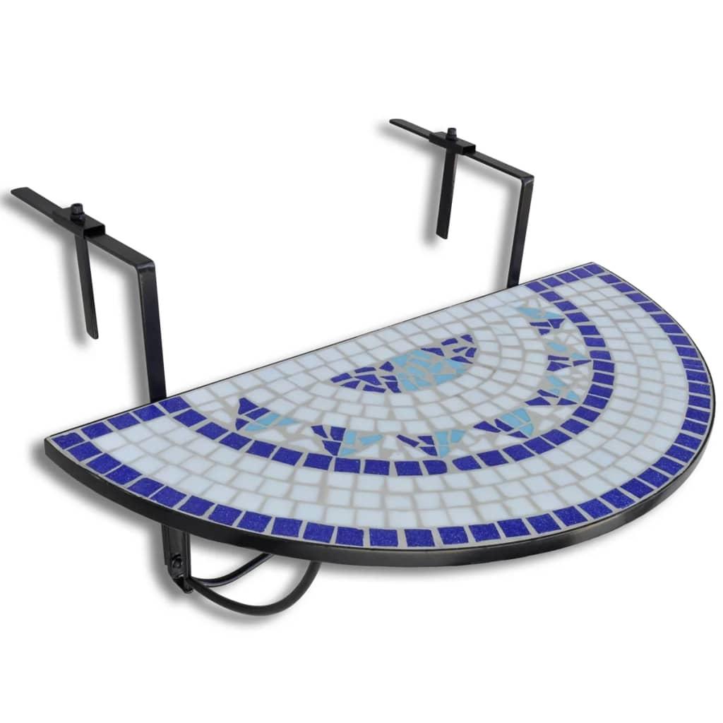 Hängbord Balkongbord Terrakotta blåvitt