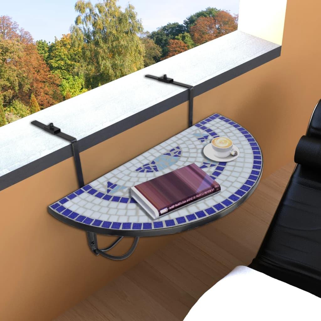 vidaXL Függő Mozaik Erkélyi Asztal Félköríves Kék Fehér