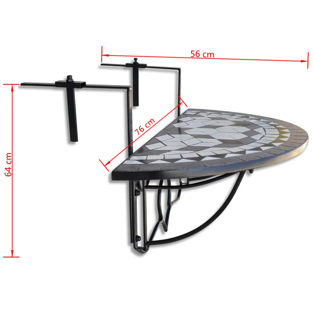 Mosaic balcony table hanging semi circular black white - Table accroche balcon ...