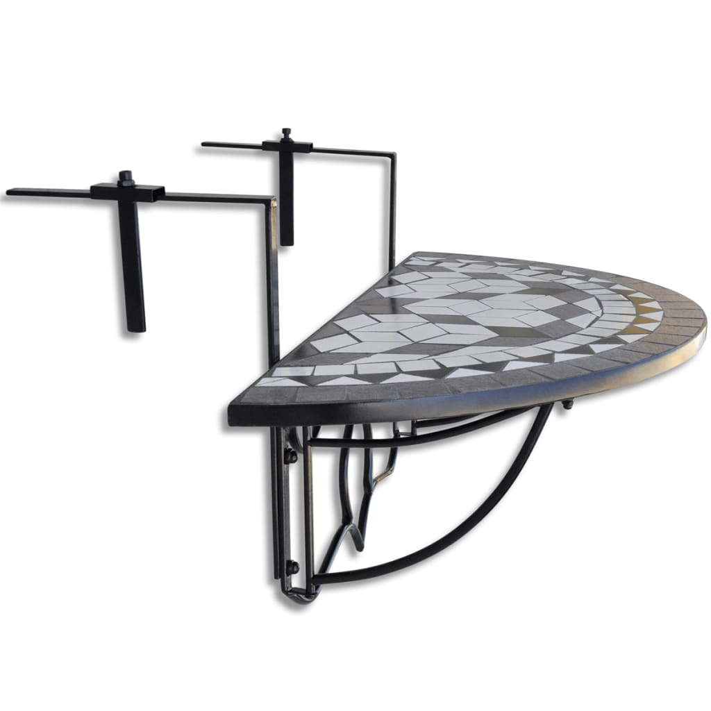 mosaic balcony table hanging semi circular black white. Black Bedroom Furniture Sets. Home Design Ideas