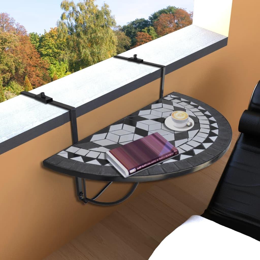 vidaXL Függő Mozaik Erkélyi Asztal Félköríves Fekete Fehér