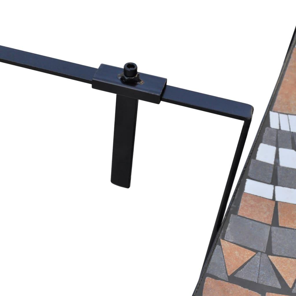 Mesa colgante mosaico semicircular terracota y blanco - Mesa colgante para balcon ...