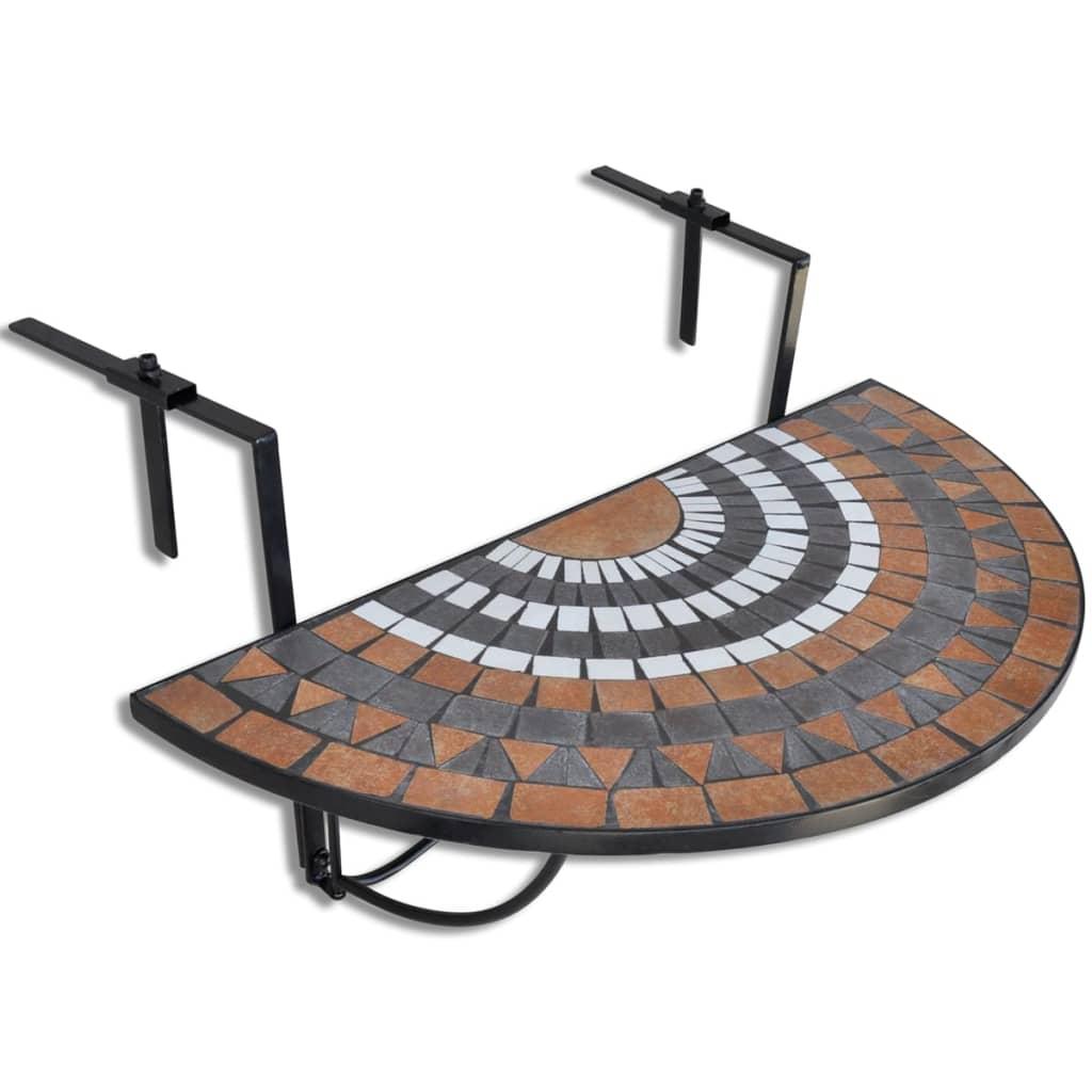 Hängbord Balkongbord Terrakotta Vit