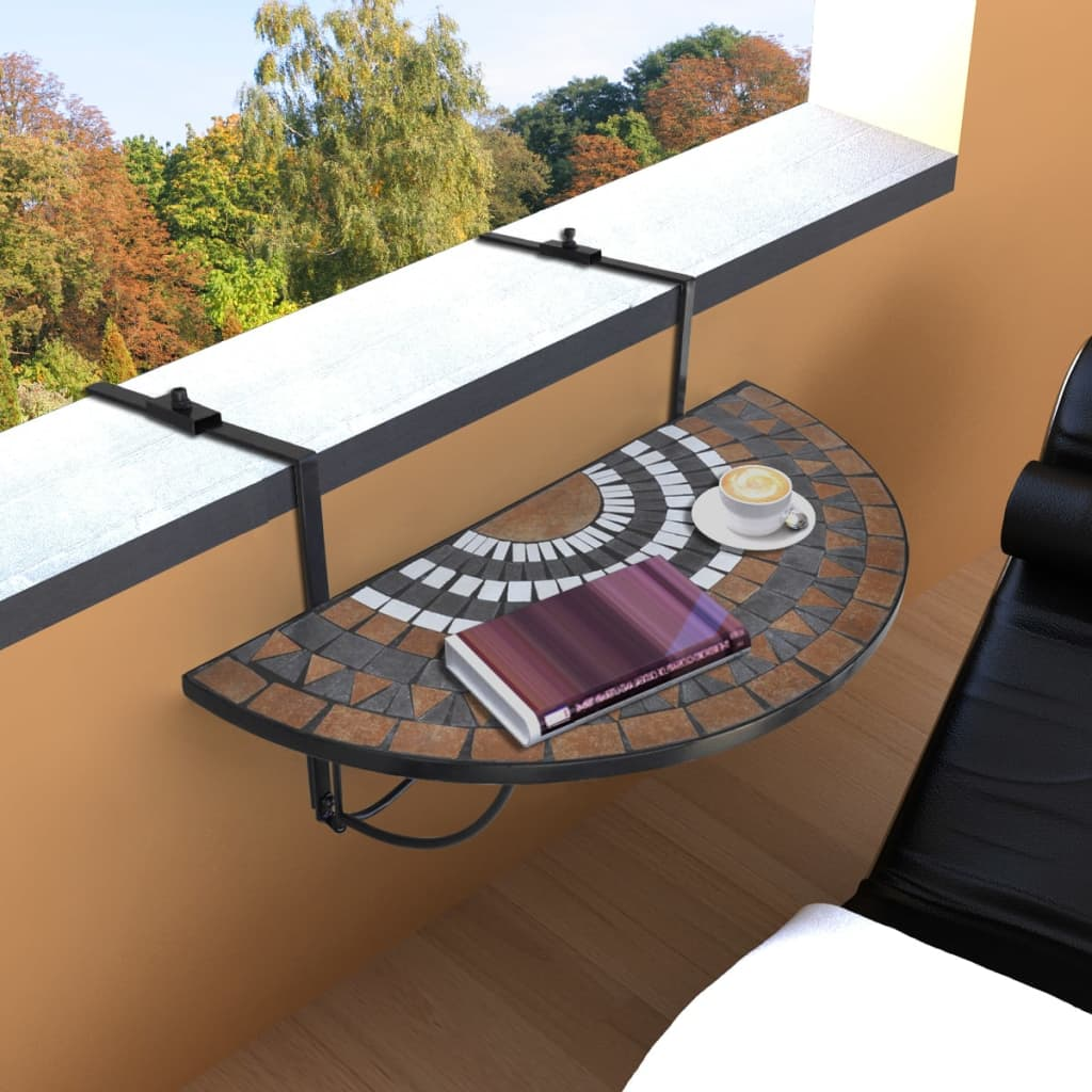 vidaXL Függő Mozaik Erkélyi Asztal Félköríves Terrakotta Fehér