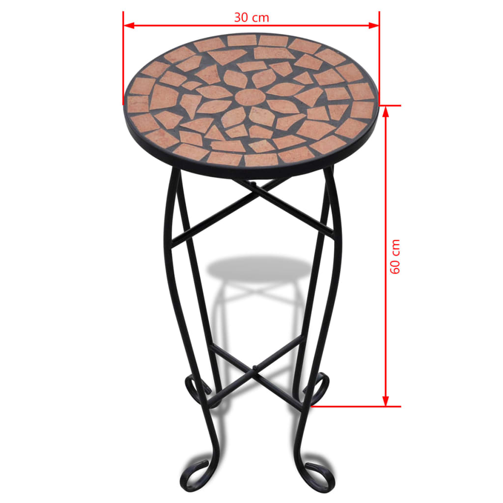 Mesa auxiliar mesa para plantas de mosaico color terracota for Auxiliar jardineria