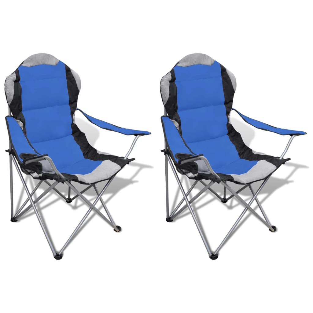 Folding chair set 2 pcs camping outdoor chairs xxl with for Chaise pliable