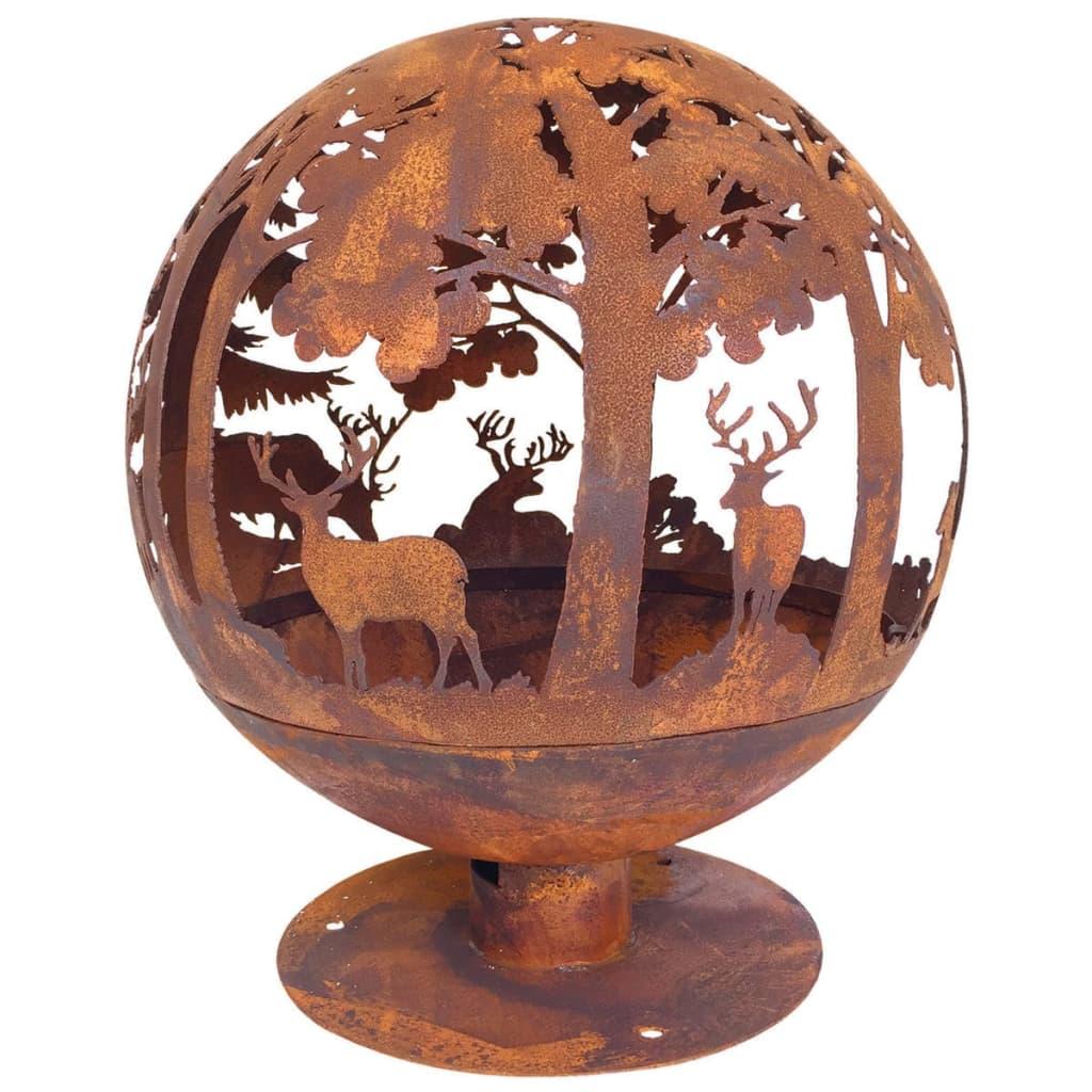 Esschert Design lézerrel kivágott tűztál 57,5x57,5x66 cm rozsdaszínű