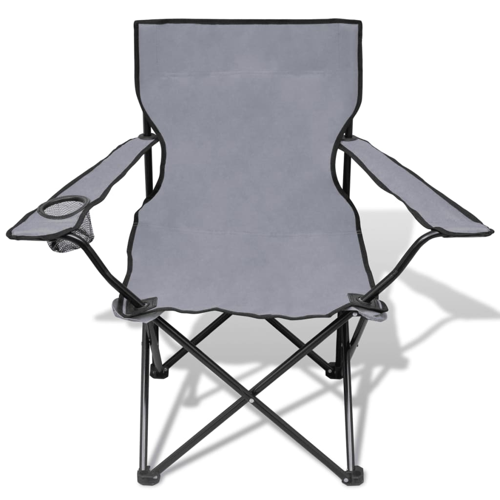 folding chair set 2 pcs camping outdoor chairs with bag gray36 - Folding Outdoor Chairs