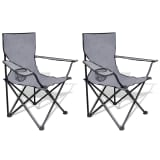 Folding Chair Set 2 pcs Camping Outdoor Chairs with Bag Grey