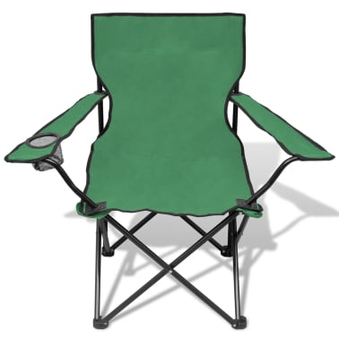 Folding Chair Set 2 pcs Camping Outdoor Chairs with Bag Green[3/6]