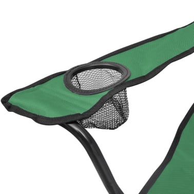 Folding Chair Set 2 pcs Camping Outdoor Chairs with Bag Green[4/6]