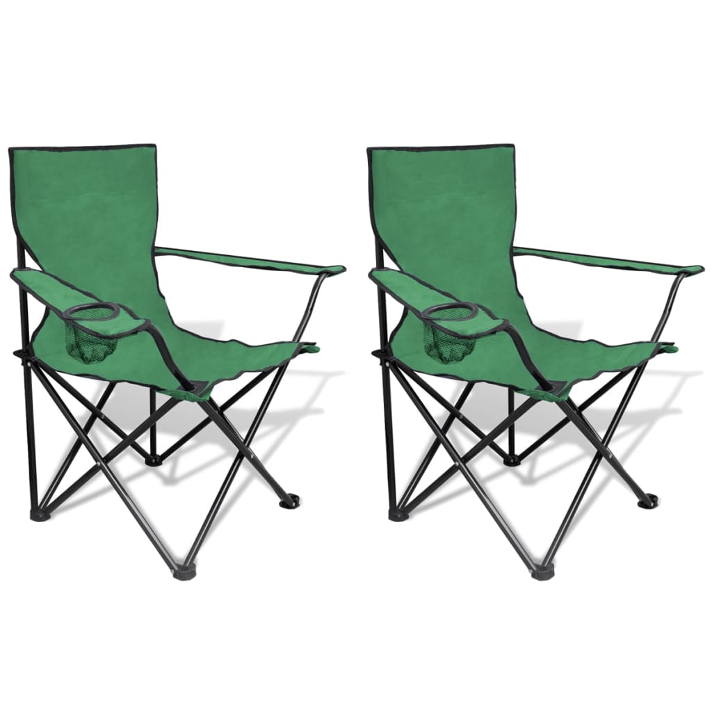 folding chair set 2 pcs camping outdoor chairs with bag green vidaxl