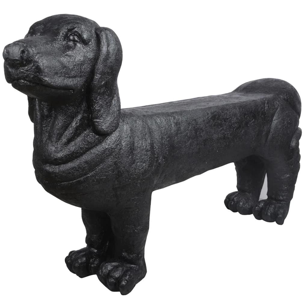 Afbeelding van Esschert Design Tuinbank teckel steen zwart AV12