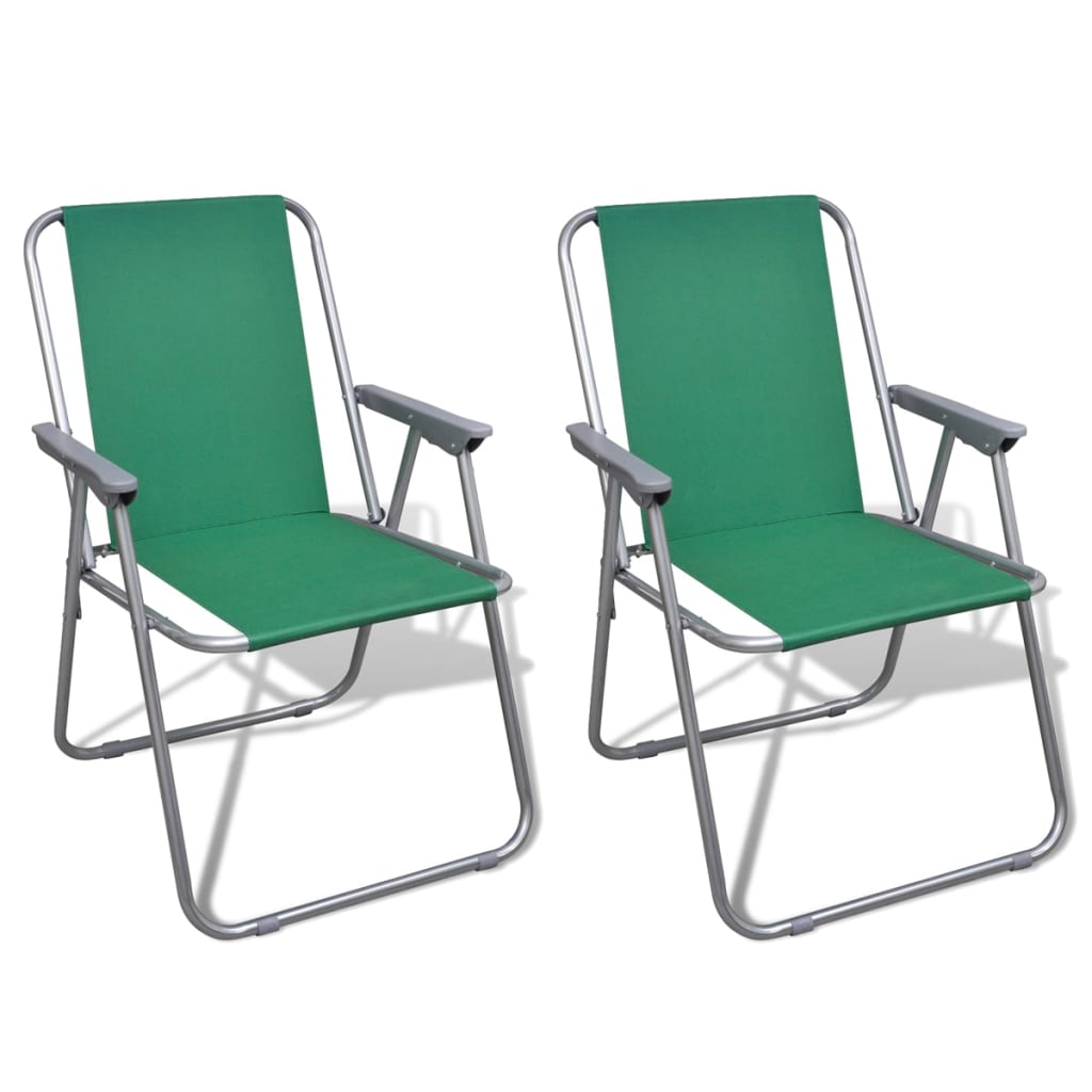 folding chair set 2 pcs camping outdoor chairs green