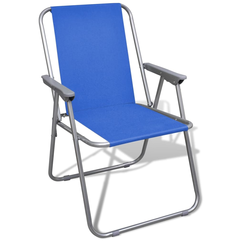 Folding chair set 2 pcs camping outdoor chairs blue for Chaise pliable