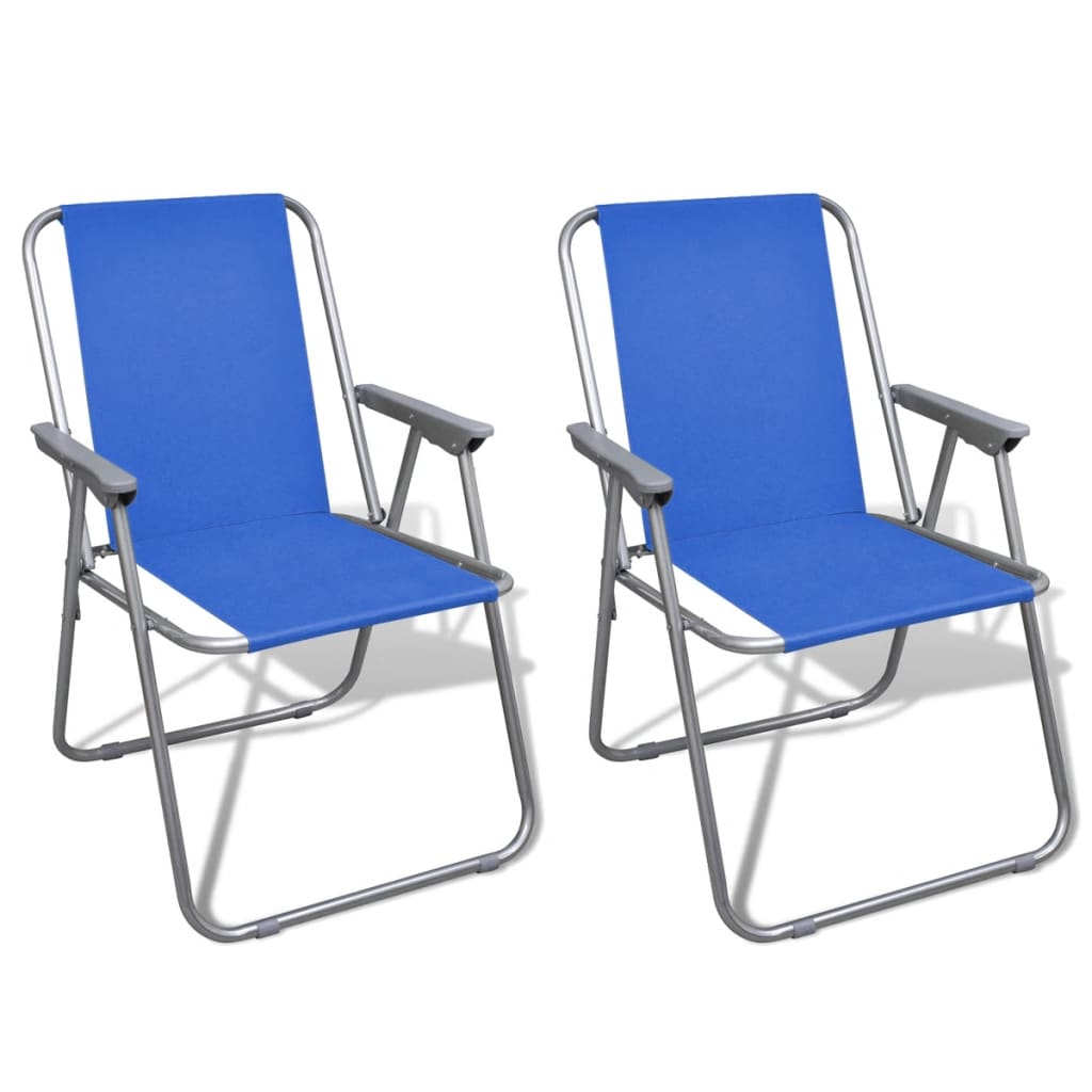 Folding chair set 2 pcs camping outdoor chairs blue for Best folding chairs outdoor