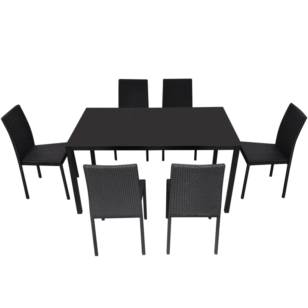 der rattan esstisch set 1 tisch 6 st hle schwarz online shop. Black Bedroom Furniture Sets. Home Design Ideas