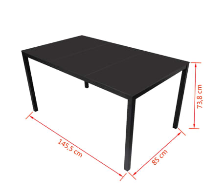Vidaxl 1 table manger en rotin lot de 6 chaises noir for Table a manger en rotin