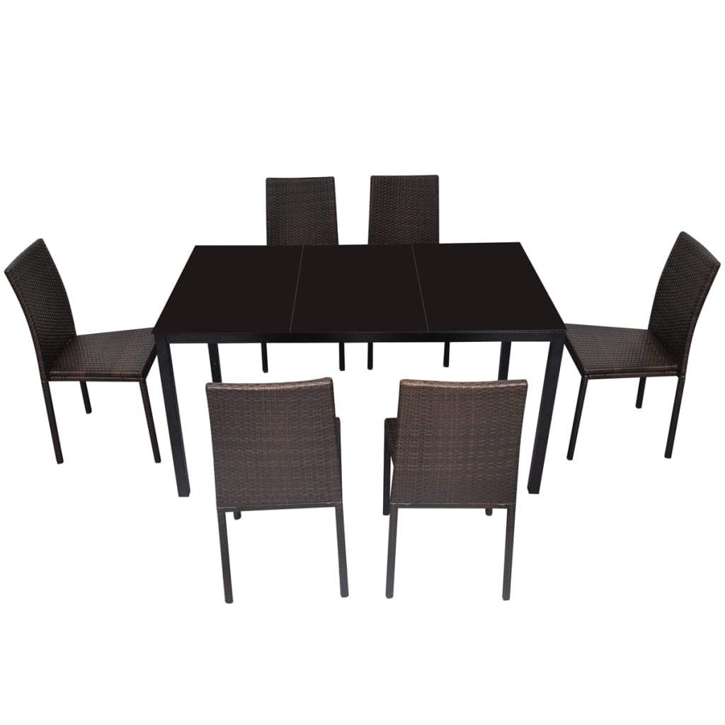 Vidaxl rattan dining table set 1 table 6 chairs brown for Dining table 6 chairs