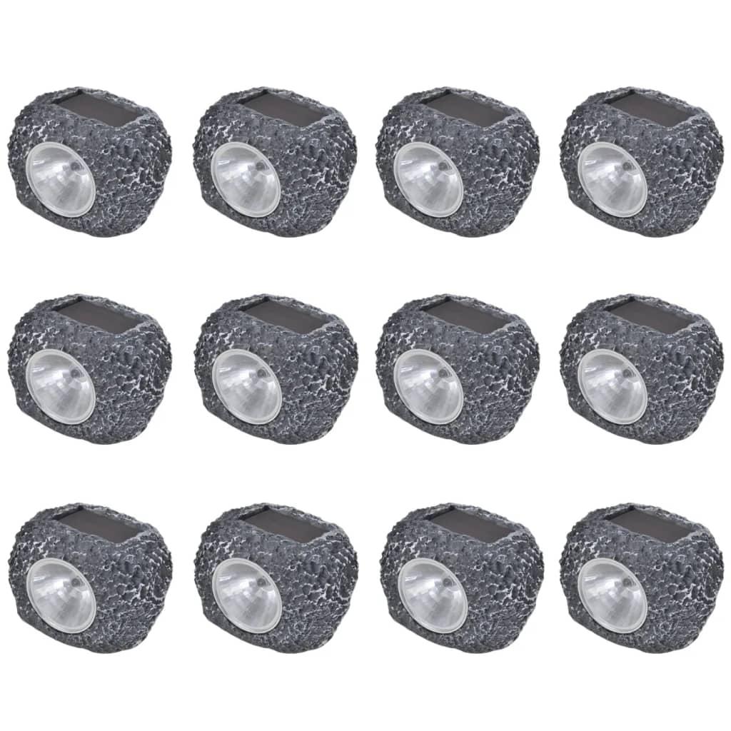 vidaXL Kültéri napelemes LED reflektor/ kültéri lámpa Kő Alakú 12db