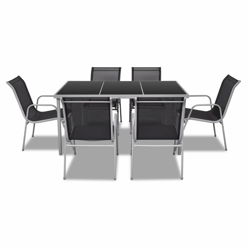 Vidaxl outdoor dining table set 6 textilene for Dining table set for 6