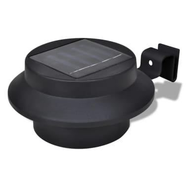 Lampe solaire 3 LED pour clôture / gouttière / jardin Noir 6 pcs[2/9]