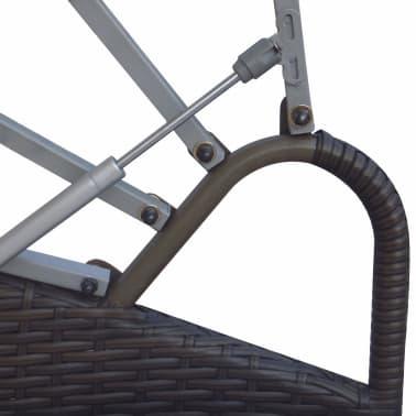 2-in-1 Rattan Sonnenliege Gartenmöbel Sitzgarnitur Braun[5/6]