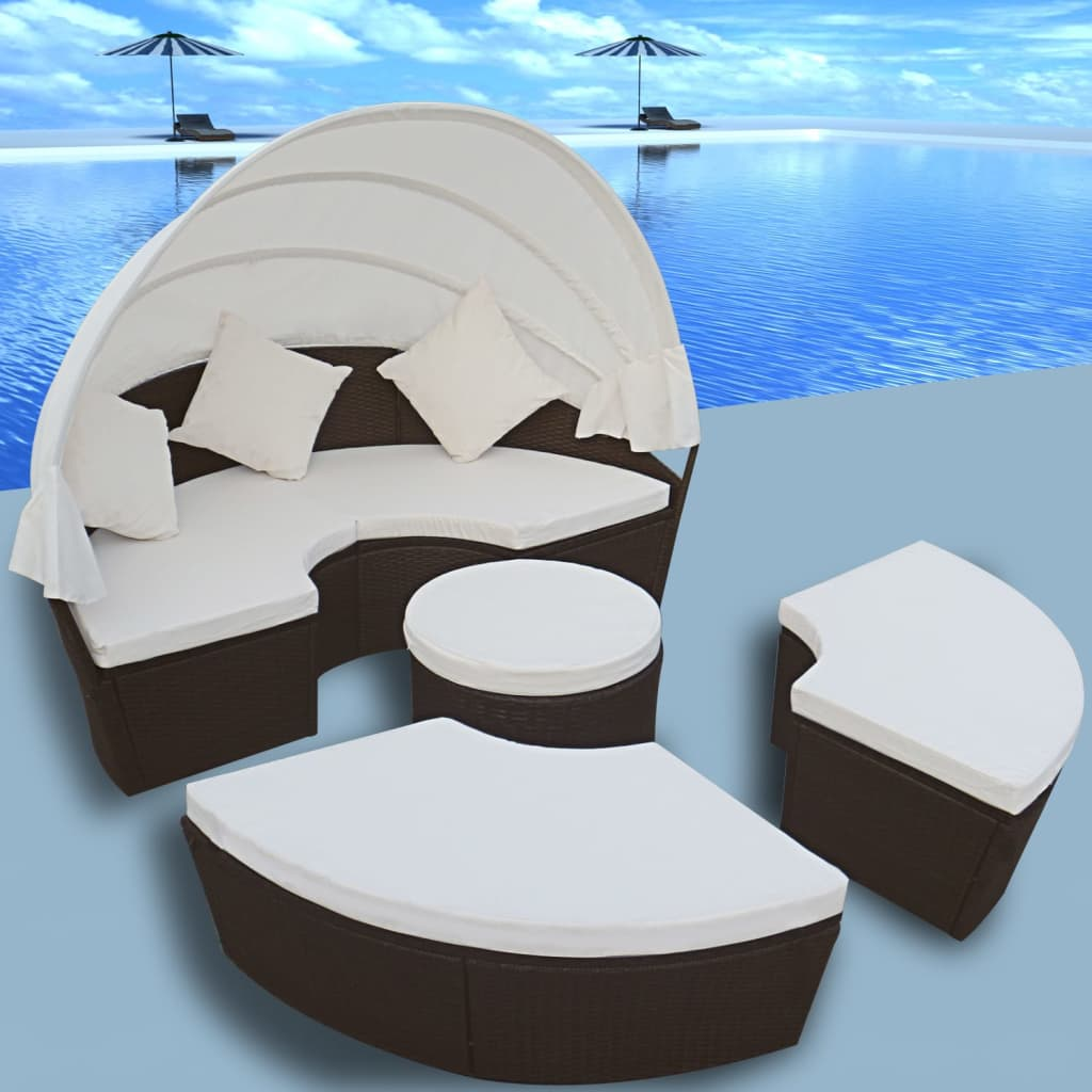 VidaXL Outdoor Lounge Set 2 In 1 Poly Rattan Wicker Round Sunbed Daybed  Garden