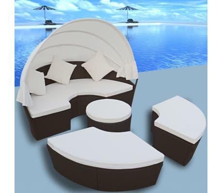 2-in-1 Rattan Sonnenliege Gartenmöbel Sitzgarnitur Braun
