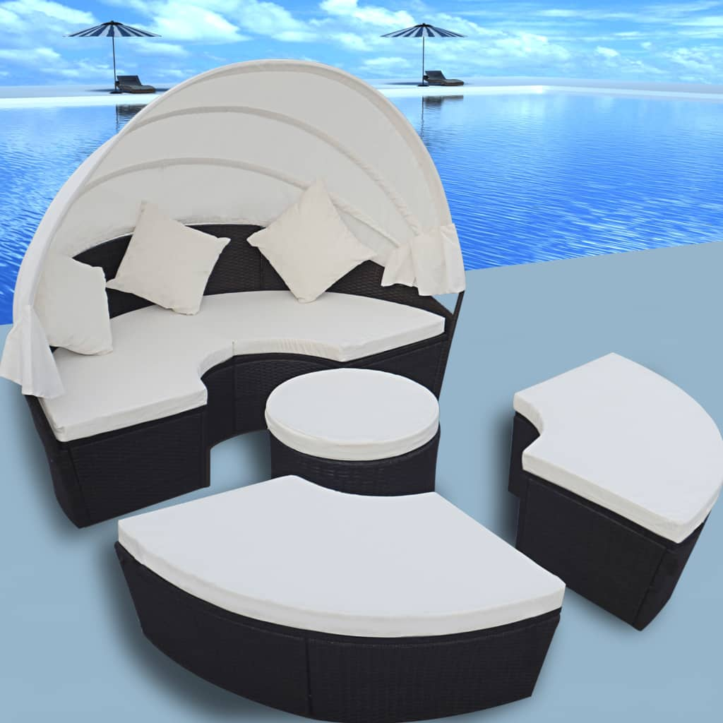 2 in 1 rattan lounge set outdoor round sun bed with canopy. Black Bedroom Furniture Sets. Home Design Ideas