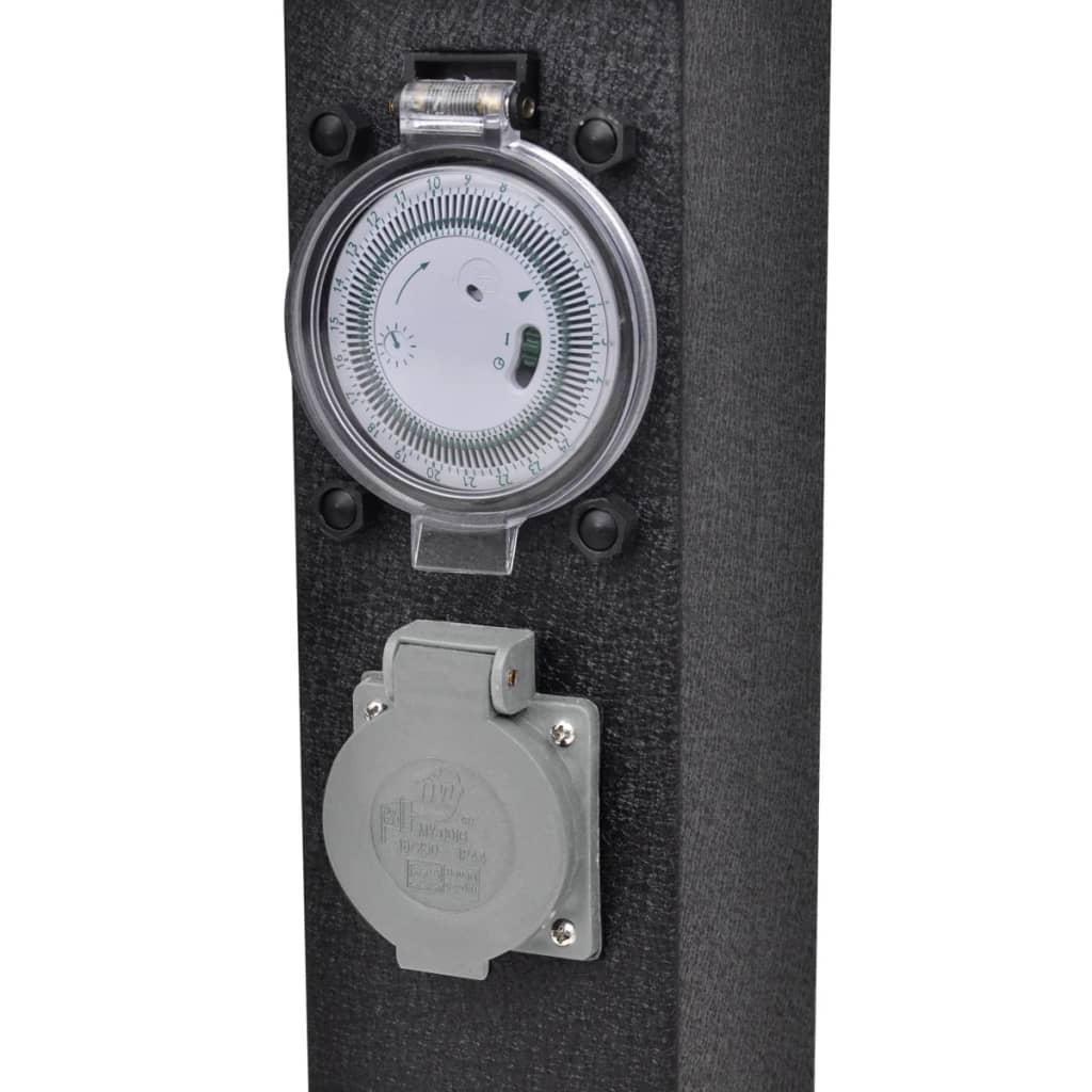 gartensteckdose steckdosenturm schwarz mit timer g nstig kaufen. Black Bedroom Furniture Sets. Home Design Ideas