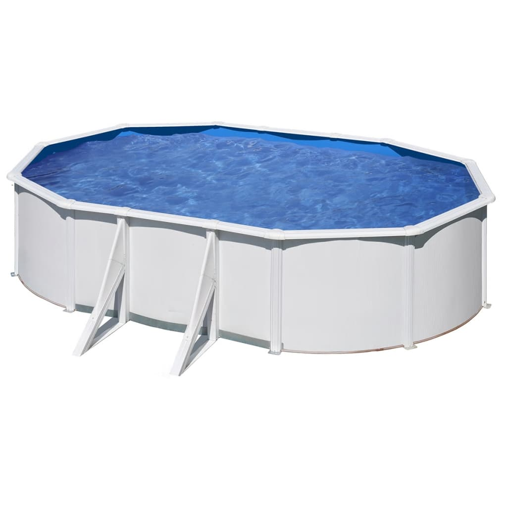 Pool set oval perfect stone effect steel wall pool set ft for Bestway vs intex