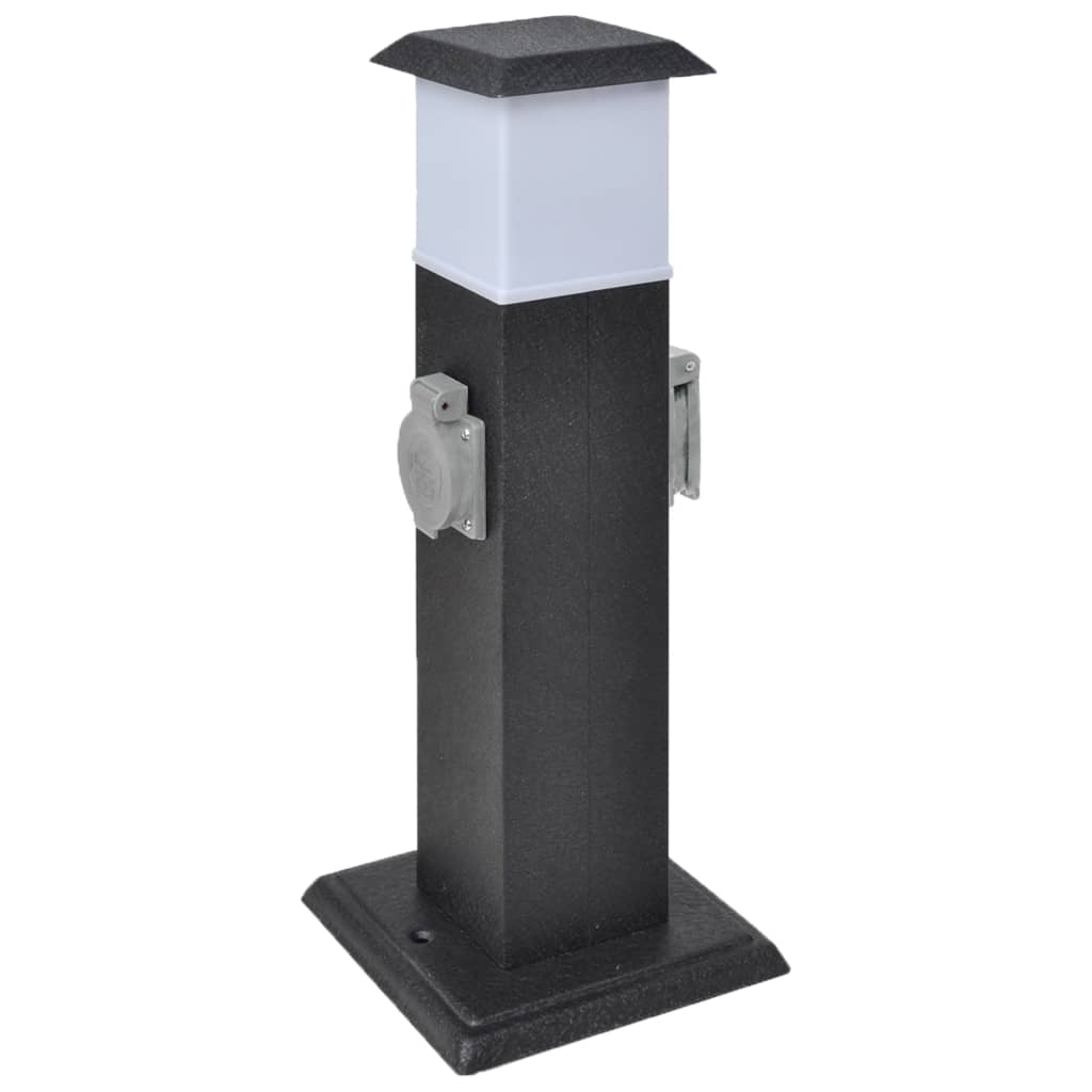 vidaXL Fekete Kert Csatlakozó Oszlop Lámpával