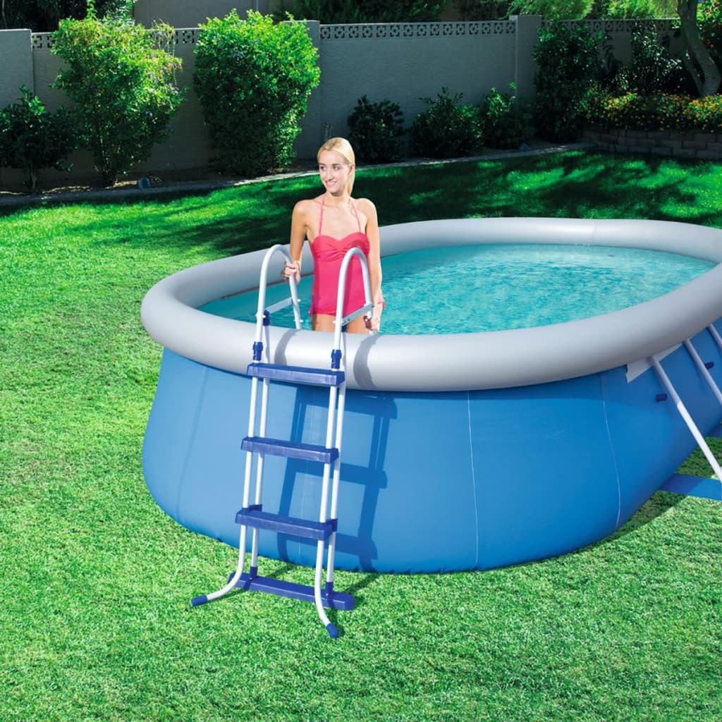 Acheter bestway chelle de piscine 3 marches 107 cm pas for Solde piscine acier