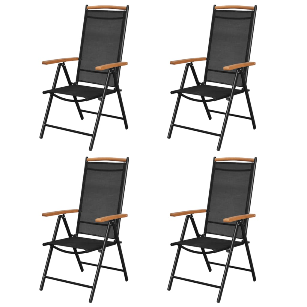 acheter lot de 4 chaises pliantes en aluminium avec accoudoirs en polybois pas cher. Black Bedroom Furniture Sets. Home Design Ideas