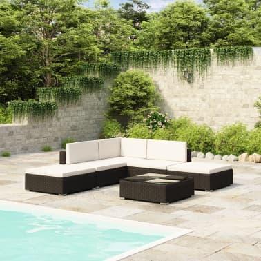 Gartenmöbel Poly Rattan Set Lounge Schwarz 15-teilig[1/7]