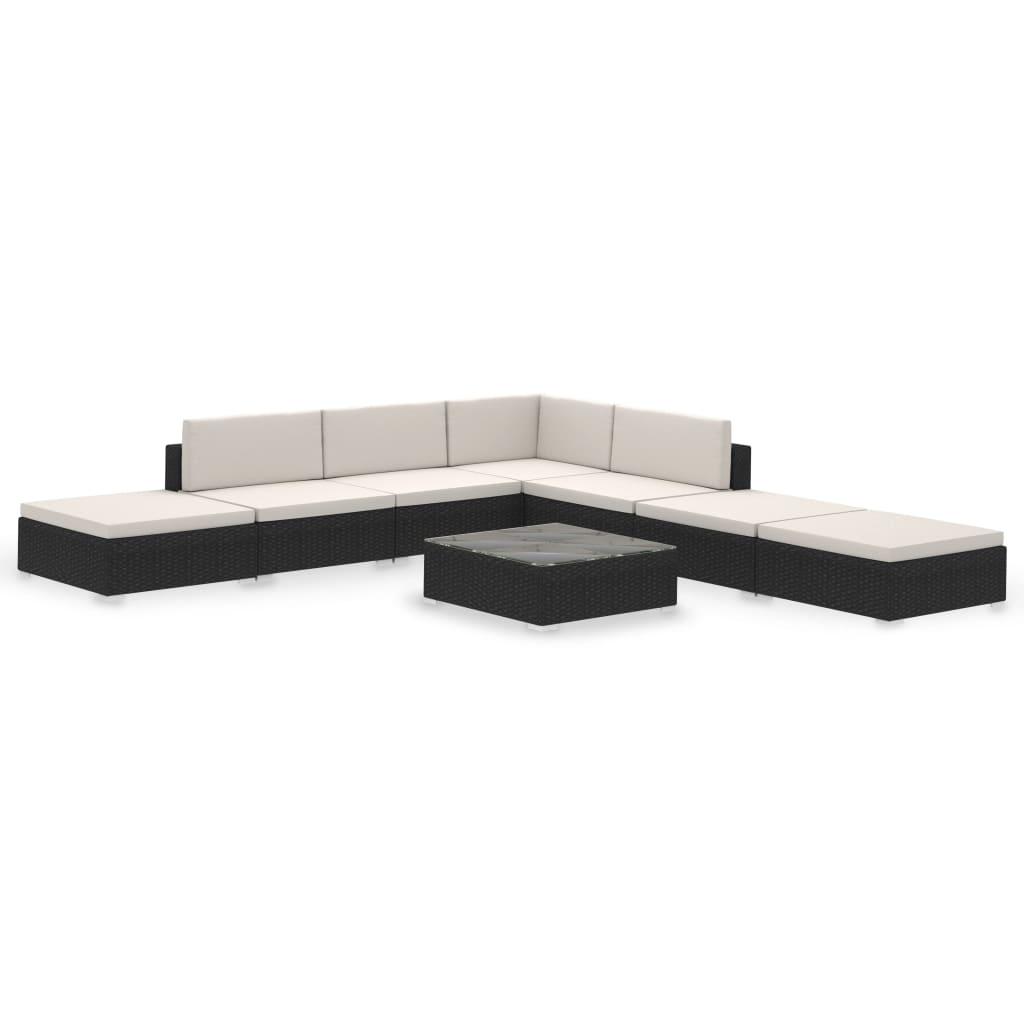 der poly rattan gartenm bel set lounge schwarz 20 teilig. Black Bedroom Furniture Sets. Home Design Ideas