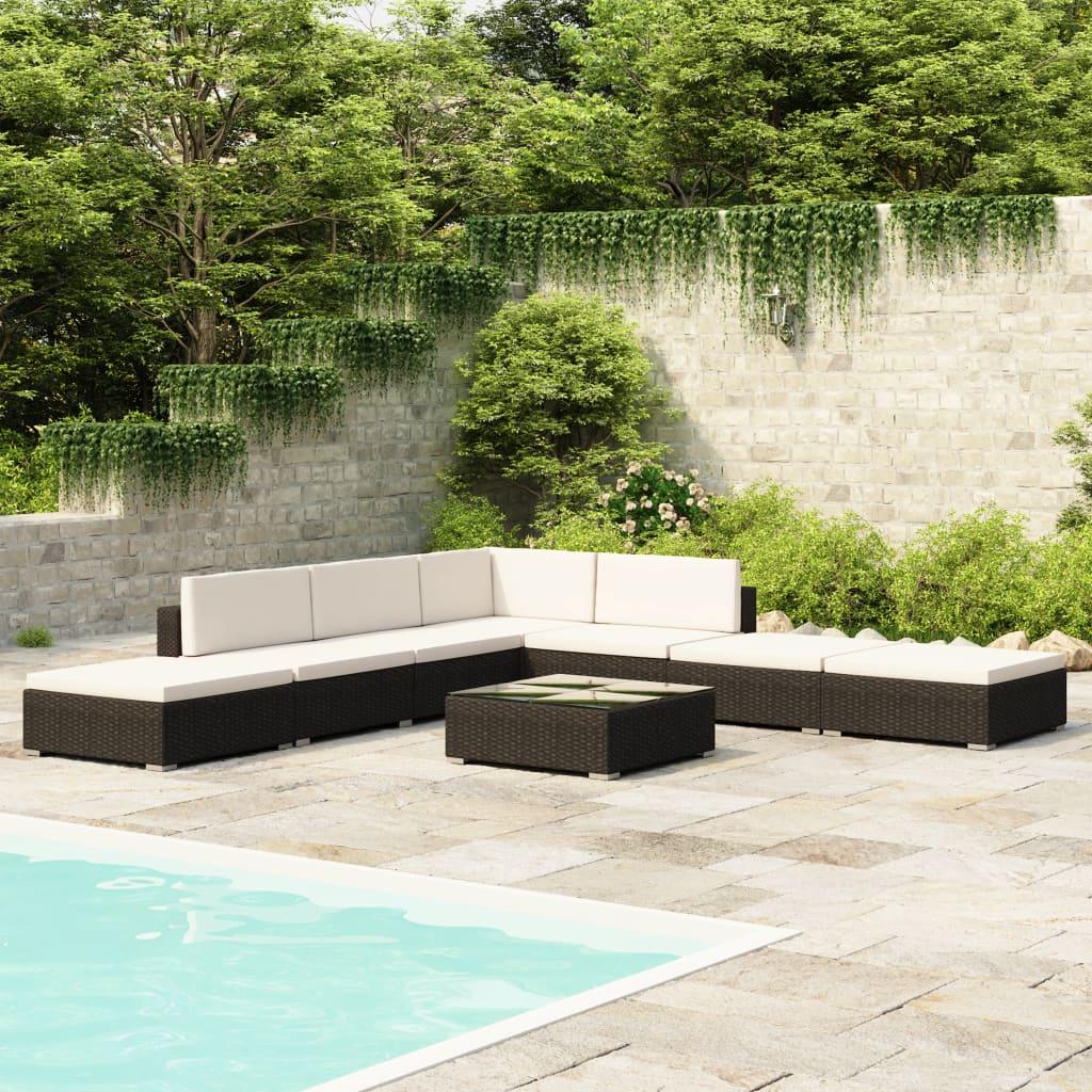 Svart 20-delars polyrattan trädgårdsmöbel set