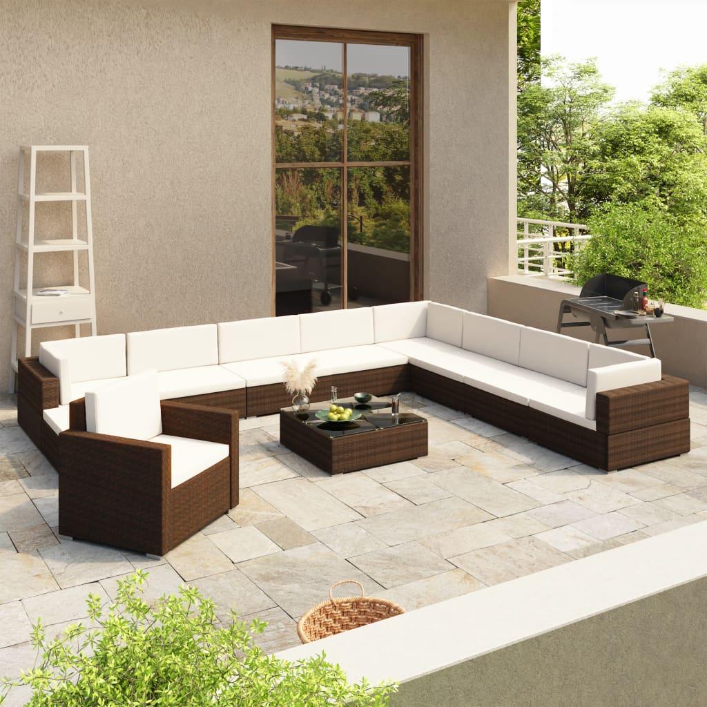 vidaXL-Gartenmoebel-35-tlg-Poly-Rattan-Lounge-Sitzgruppe-Sitzgarnitur-Gartenset
