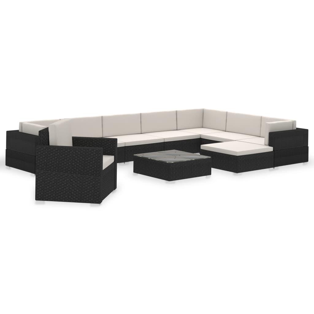 vidaXL-Divano-da-Giardino-Set-35-pz-in-Polirattan-Nero-Sofa-con-Cuscini