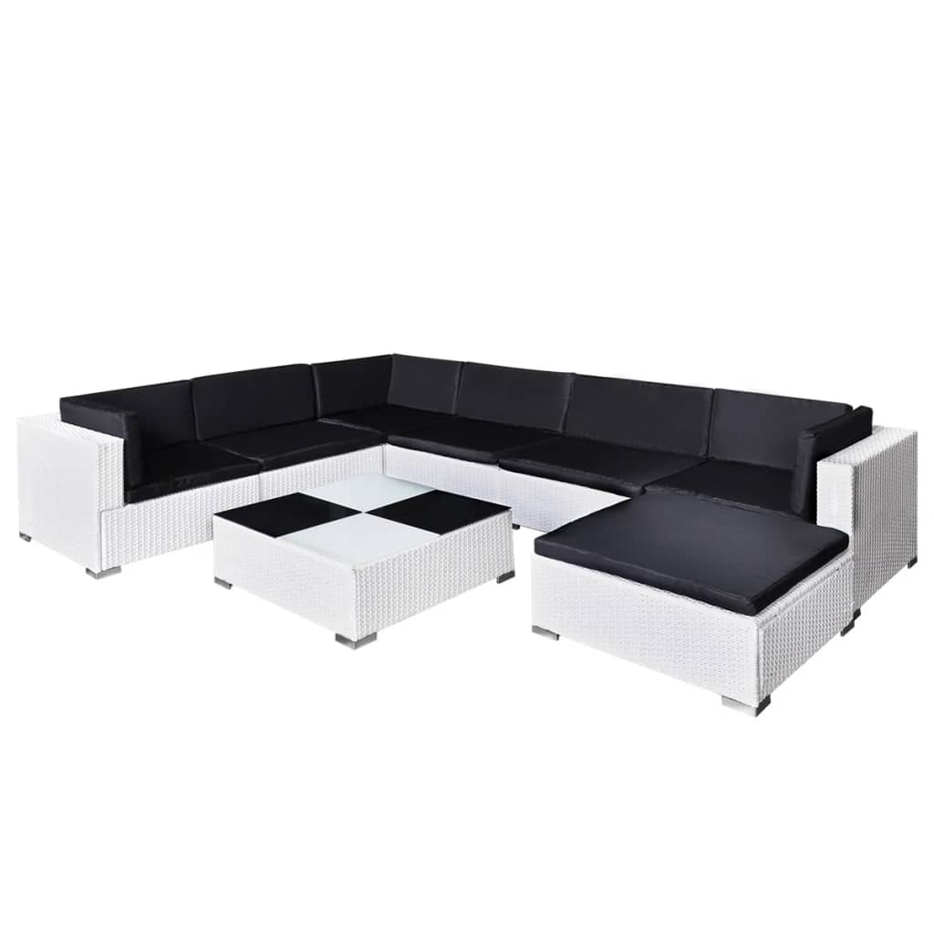 gartenm bel poly rattan set lounge wei 24 teilig. Black Bedroom Furniture Sets. Home Design Ideas