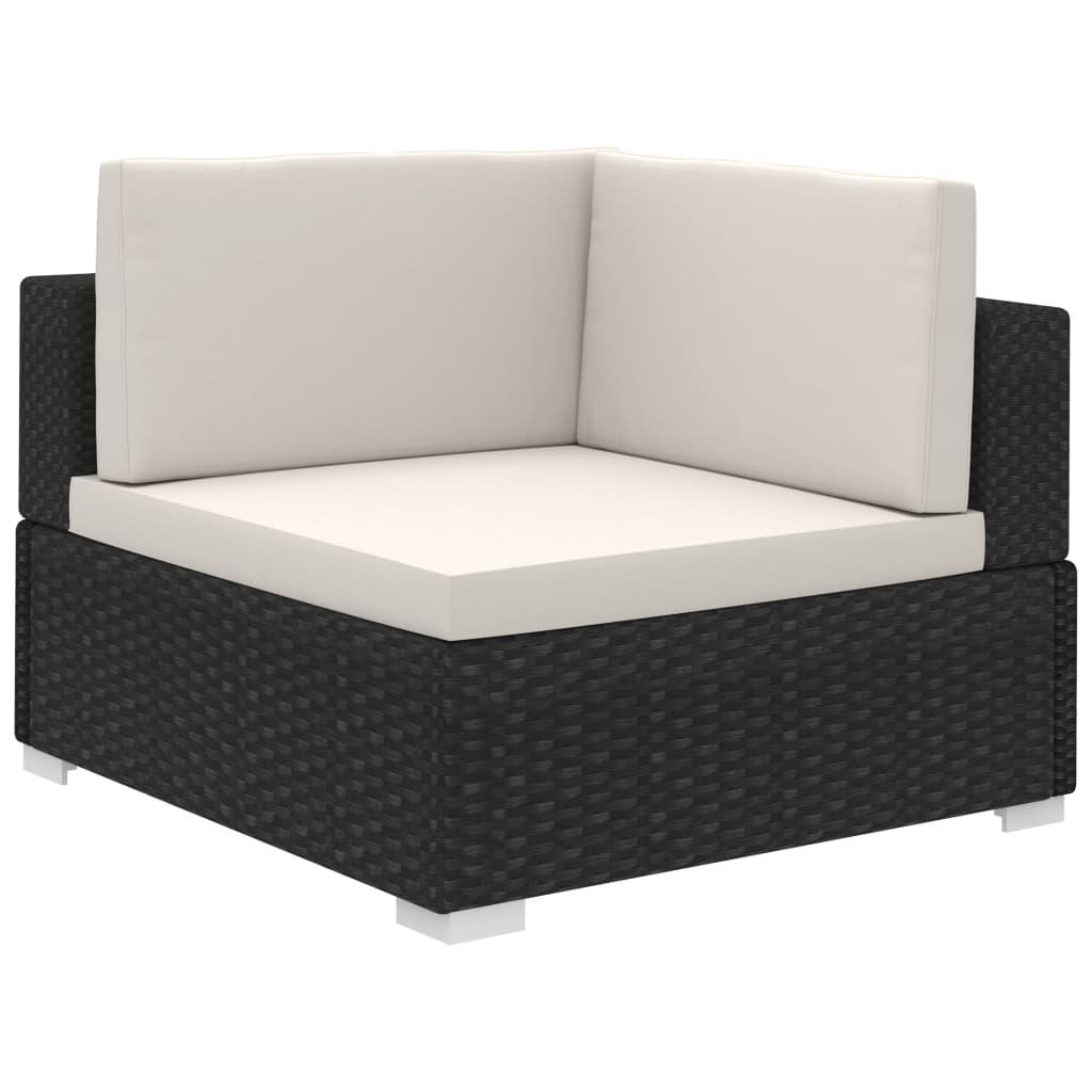 vidaXL Outdoor Lounge Set 15 Pieces Black Poly Rattan ...
