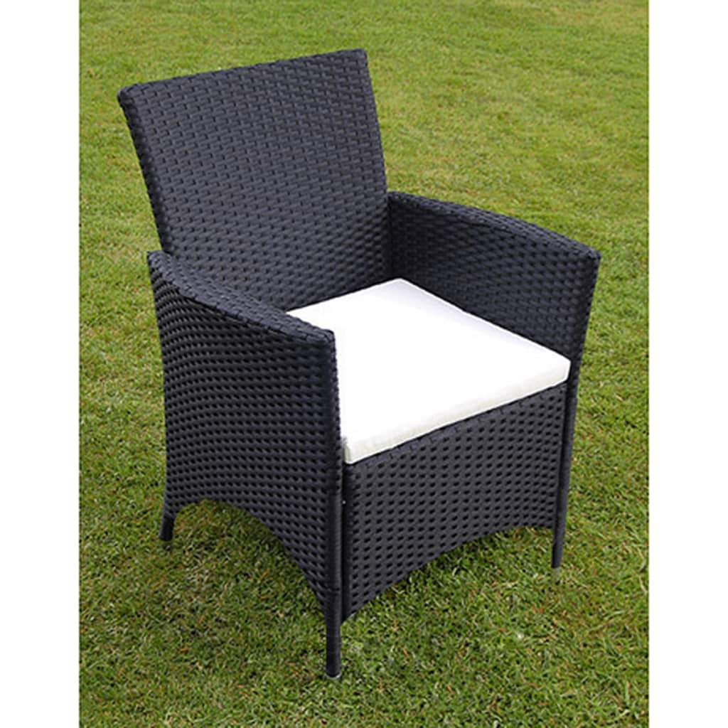 Garden Furniture 6 Chairs black rattan garden dining table - destroybmx