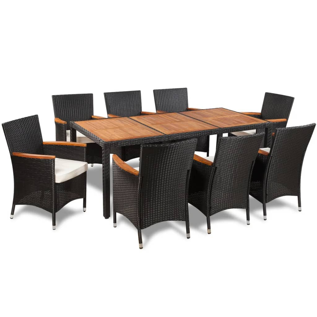 vidaxl rattan garden dining set with 8 chairs and a table with wooden top. Black Bedroom Furniture Sets. Home Design Ideas
