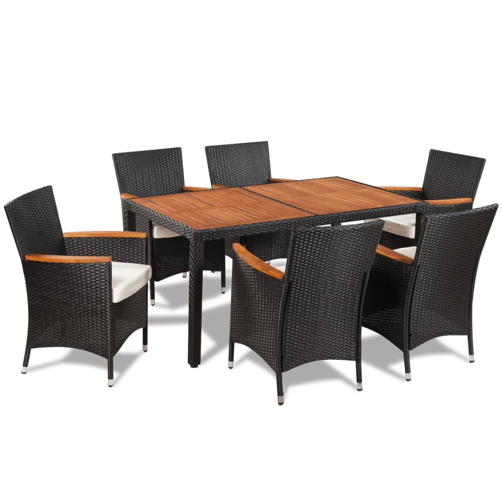 Vidaxl poly rattan garden dining set 6 chairs and a table for Six chair dining table set