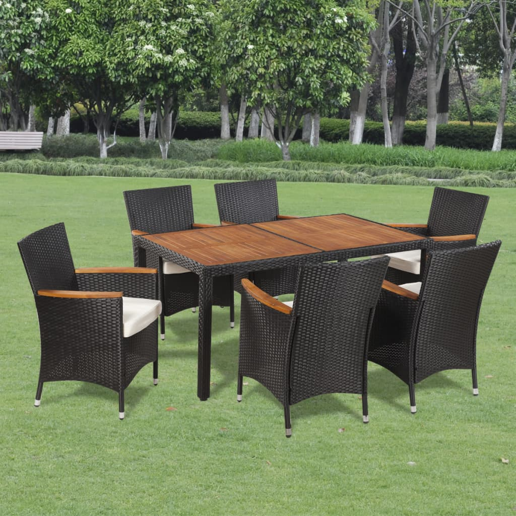 Vidaxl Poly Rattan Garden Dining Set 6 Chairs And A Table Wooden Top