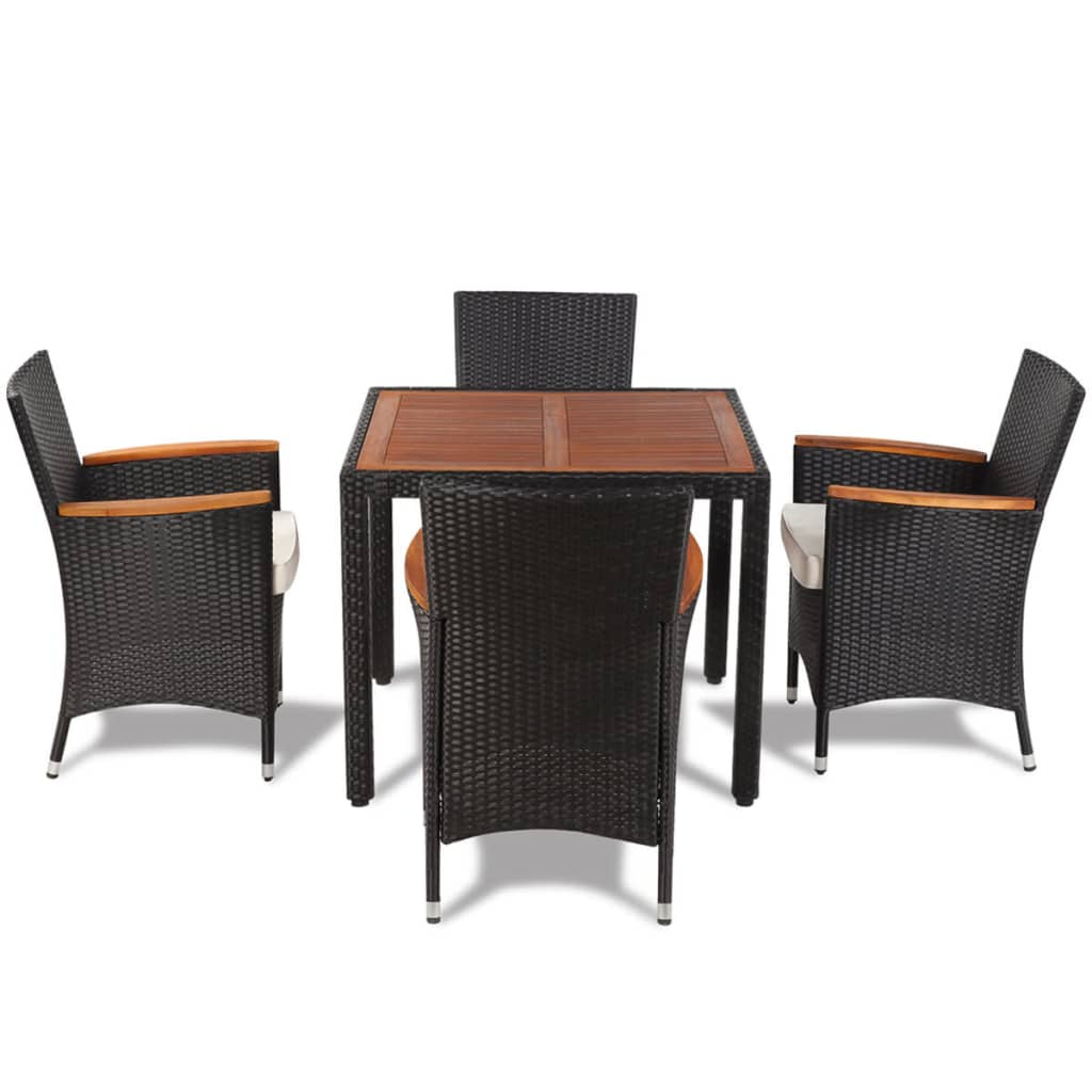 Vidaxl poly rattan garden dining set with 4 chairs and for Four chair dining table set