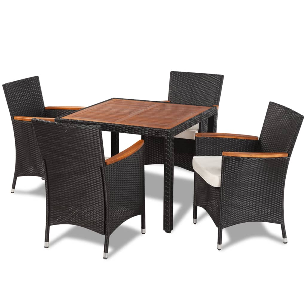 Vidaxl poly rattan garden dining set with 4 chairs and for Table exterieur weldom
