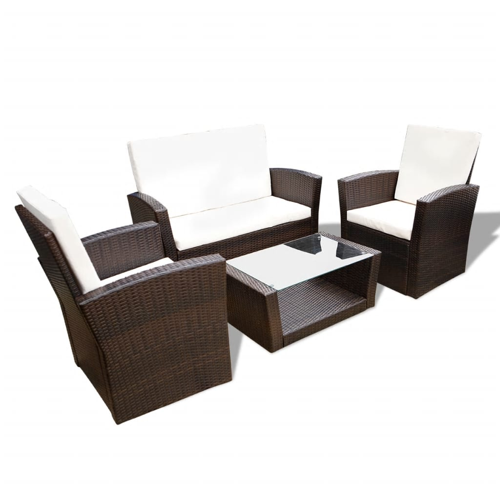 Rattan Lounge Weiss ~ Vidaxl brown outdoor poly rattan lounge set with cushions